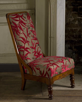 Victorian nursing chair with Jane Churchill fabric