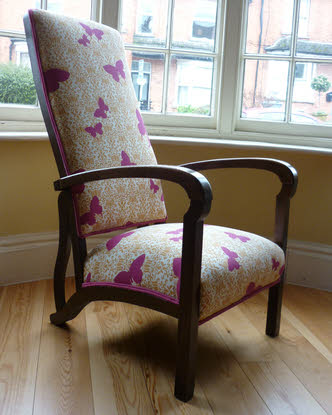 Butterfly fabric antique armchair